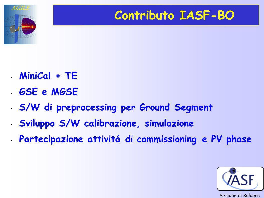 Sezione di Bologna Contributo IASF-BO MiniCal + TE GSE e MGSE S/W di preprocessing per Ground Segment Sviluppo S/W calibrazione, simulazione Partecipa