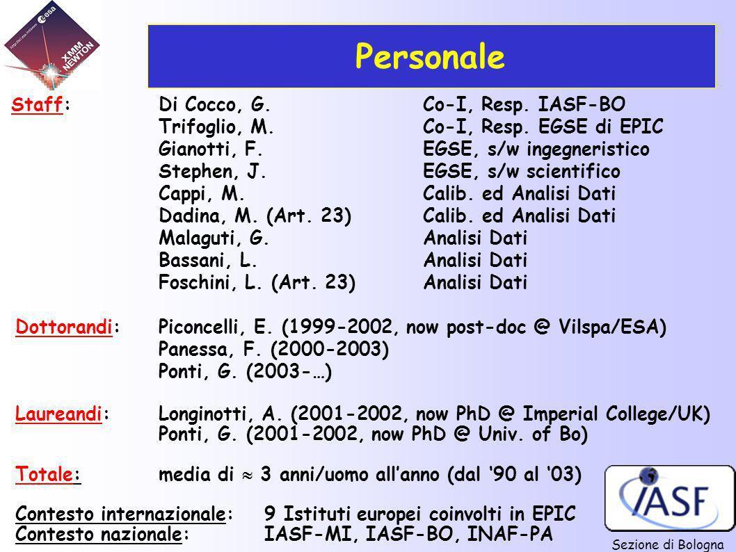 Sezione di Bologna Staff:Di Cocco, G.Co-I, Resp. IASF-BO Trifoglio, M.Co-I, Resp. EGSE di EPIC Gianotti, F.EGSE, s/w ingegneristico Stephen, J.EGSE, s