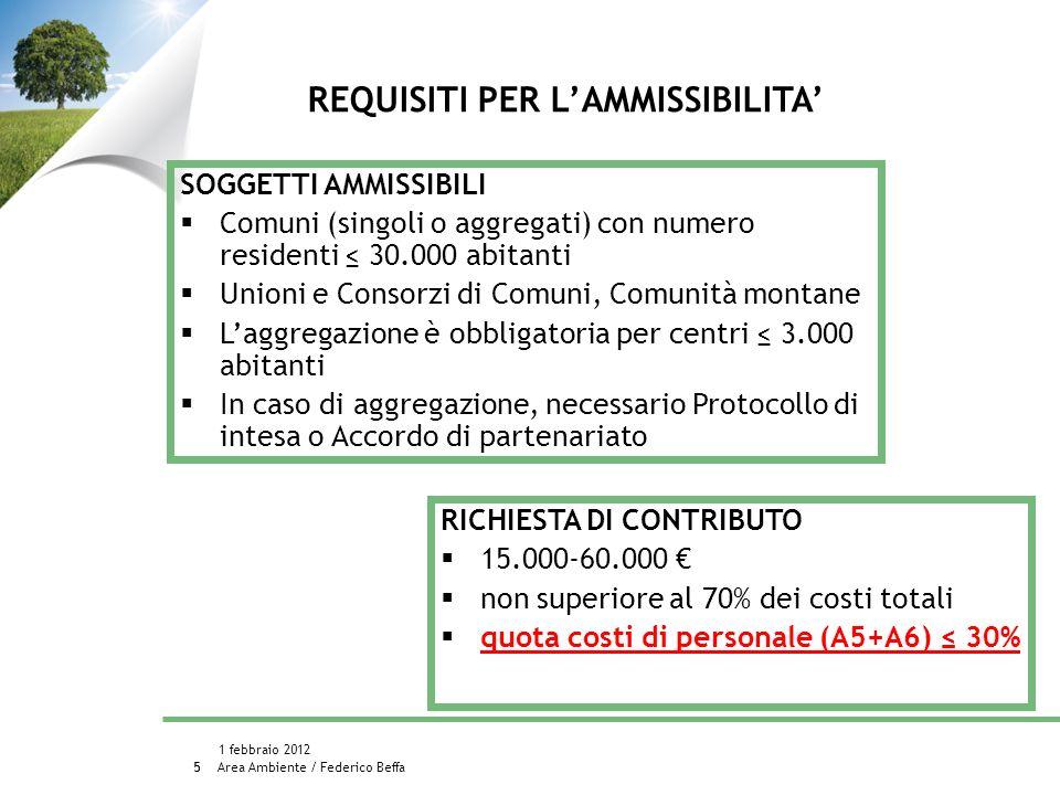 Area Ambiente / Federico Beffa 1 febbraio 2012 6 PROGETTI NON AMMISSIBILI richieste che prevedano interventi strutturali progetti che prevedano solo alcuni degli obiettivi 1-7 o obiettivi differenti BUDGET: 2.500.000 SCADENZA 11 maggio 2012