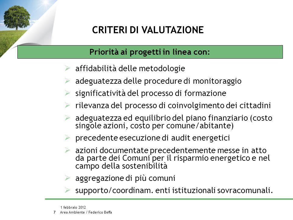 Area Ambiente / Federico Beffa 1 febbraio 2012 8 PROGETTI FINANZIATI: 93 COMUNI COINVOLTI: 230 (14% dei comuni 30.000 ab.) POPOLAZIONE COINVOLTA: 1.337.774 abit.