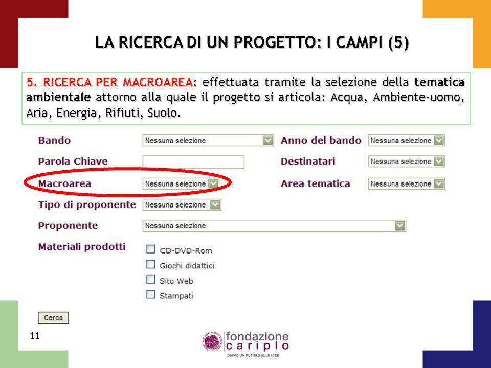 11 LA RICERCA DI UN PROGETTO: I CAMPI (5) 5. RICERCA PER MACROAREA: effettuata tramite la selezione della tematica ambientale attorno alla quale il pr