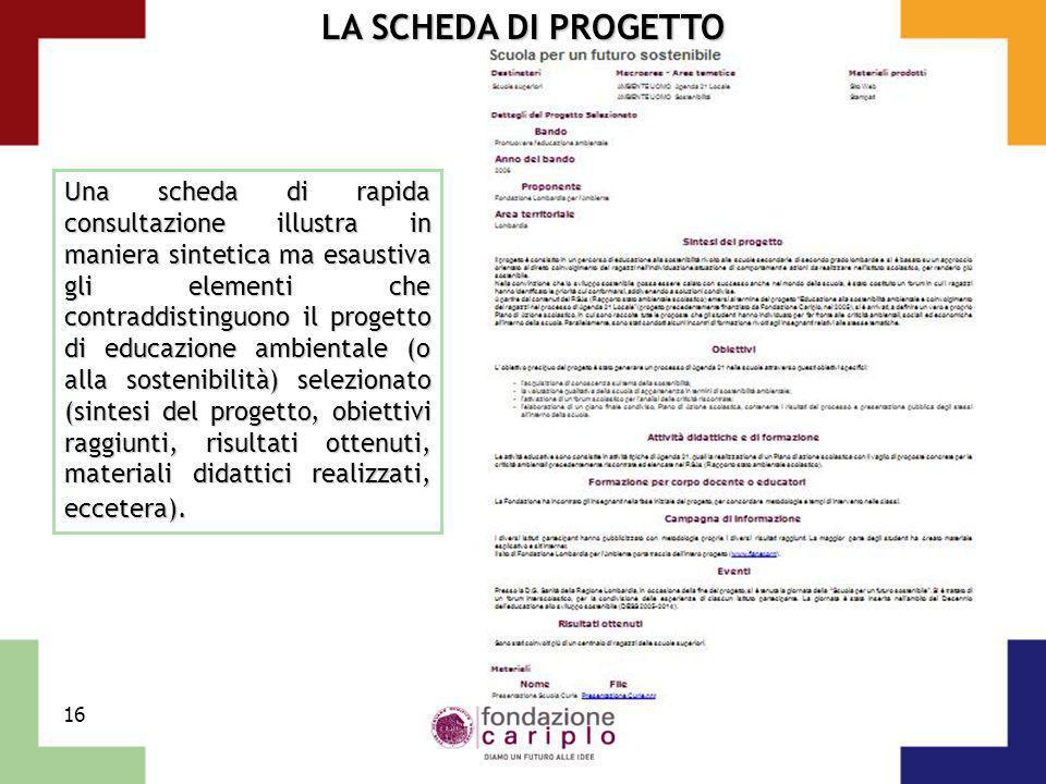 16 LA SCHEDA DI PROGETTO Una scheda di rapida consultazione illustra in maniera sintetica ma esaustiva gli elementi che contraddistinguono il progetto
