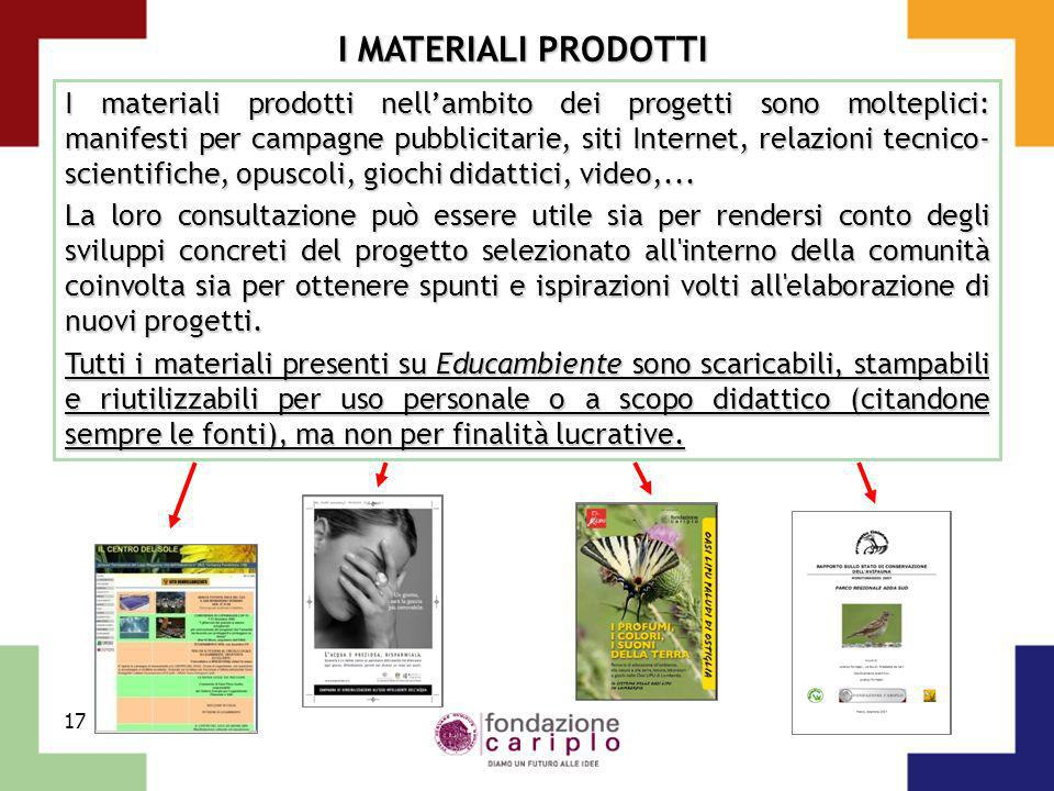 17 I MATERIALI PRODOTTI I materiali prodotti nellambito dei progetti sono molteplici: manifesti per campagne pubblicitarie, siti Internet, relazioni t