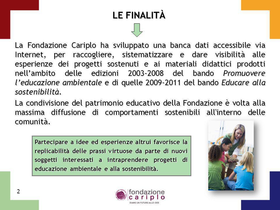 2 LE FINALITÀ La Fondazione Cariplo ha sviluppato una banca dati accessibile via Internet, per raccogliere, sistematizzare e dare visibilità alle espe