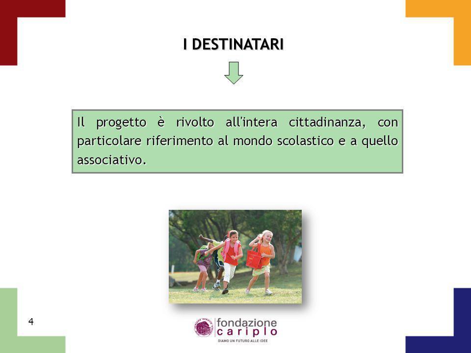 4 I DESTINATARI Il progetto è rivolto all'intera cittadinanza, con particolare riferimento al mondo scolastico e a quello associativo.