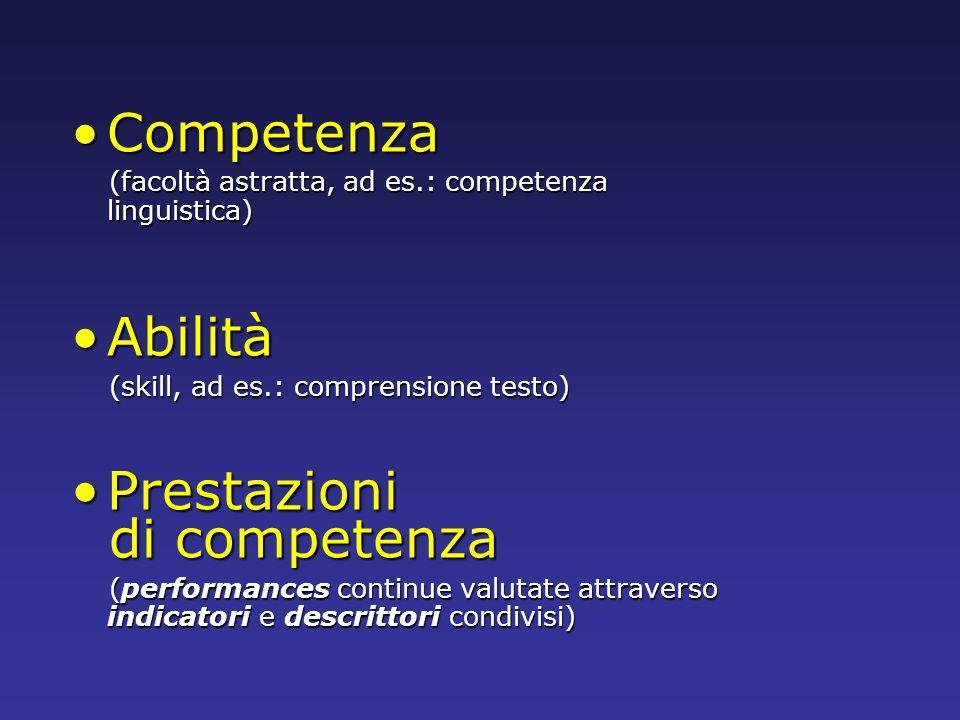 CompetenzaCompetenza (facoltà astratta, ad es.: competenza linguistica) (facoltà astratta, ad es.: competenza linguistica) AbilitàAbilità (skill, ad e