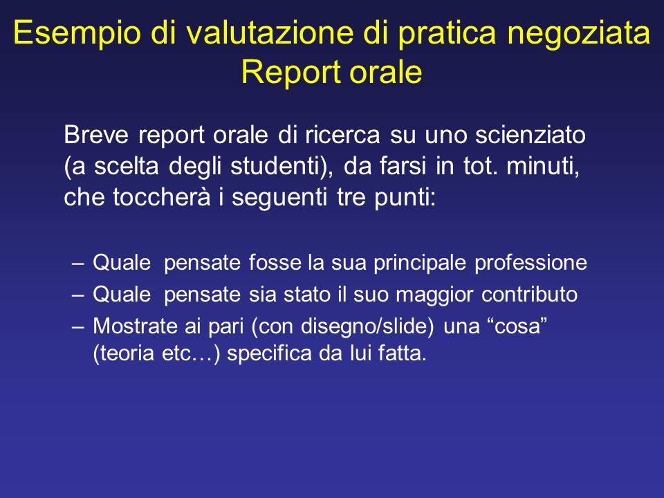 Esempio di valutazione di pratica negoziata Report orale Breve report orale di ricerca su uno scienziato (a scelta degli studenti), da farsi in tot. m