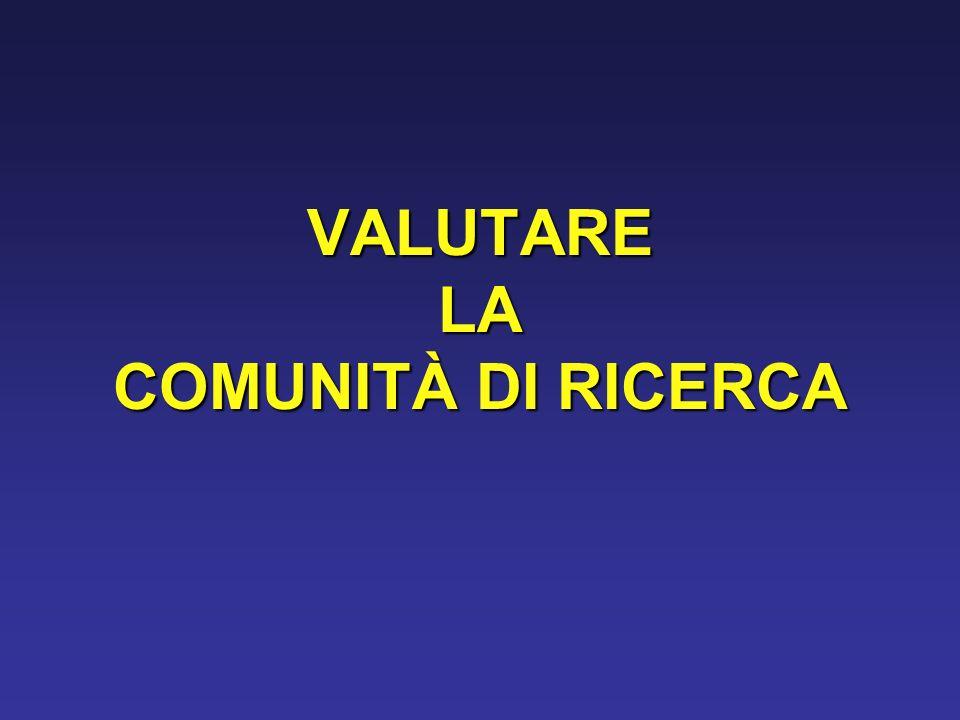 VALUTARE LA COMUNITÀ DI RICERCA
