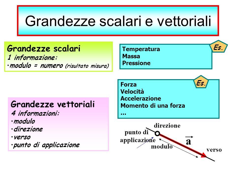 Grandezze scalari e vettoriali Grandezze scalari 1 informazione: modulo = numero (risultato misura) Grandezze vettoriali 4 informazioni: modulo direzi