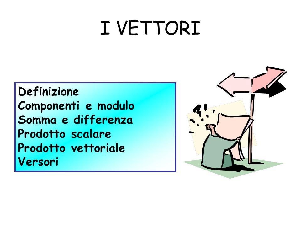 I VETTORI Definizione Componenti e modulo Somma e differenza Prodotto scalare Prodotto vettoriale Versori