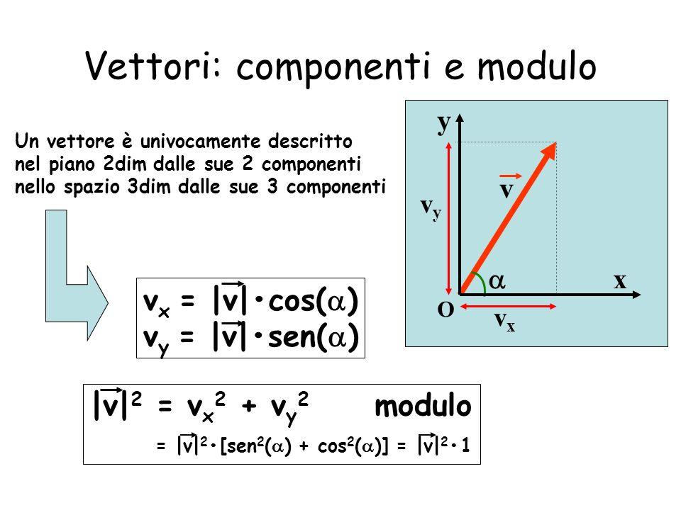 Vettori: componenti e modulo y x O vyvy v vxvx Un vettore è univocamente descritto nel piano 2dim dalle sue 2 componenti nello spazio 3dim dalle sue 3