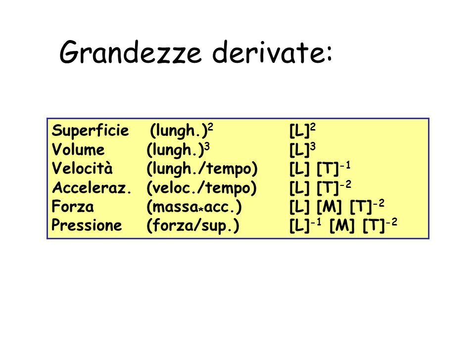Grandezze derivate: Superficie (lungh.) 2 [L] 2 Volume (lungh.) 3 [L] 3 Velocità (lungh./tempo) [L] [T] -1 Acceleraz. (veloc./tempo)[L] [T] -2 Forza (