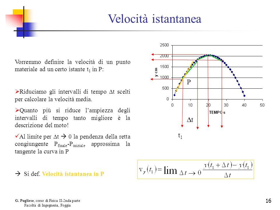 G. Pugliese, corso di Fisica II-2nda parte Facoltà di Ingegneria, Foggia 16 Velocità istantanea Vorremmo definire la velocità di un punto materiale ad