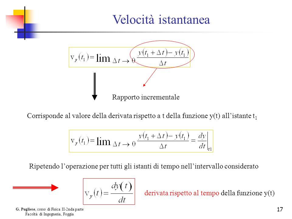 G. Pugliese, corso di Fisica II-2nda parte Facoltà di Ingegneria, Foggia 17 Velocità istantanea Rapporto incrementale Corrisponde al valore della deri
