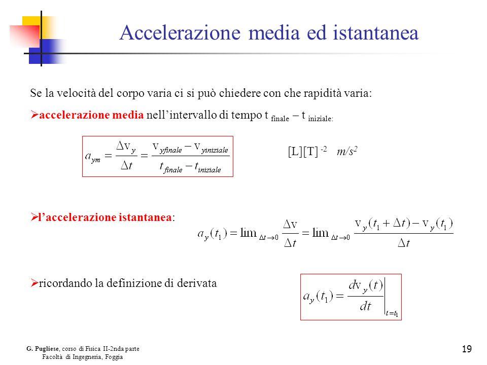 G. Pugliese, corso di Fisica II-2nda parte Facoltà di Ingegneria, Foggia 19 Accelerazione media ed istantanea Se la velocità del corpo varia ci si può