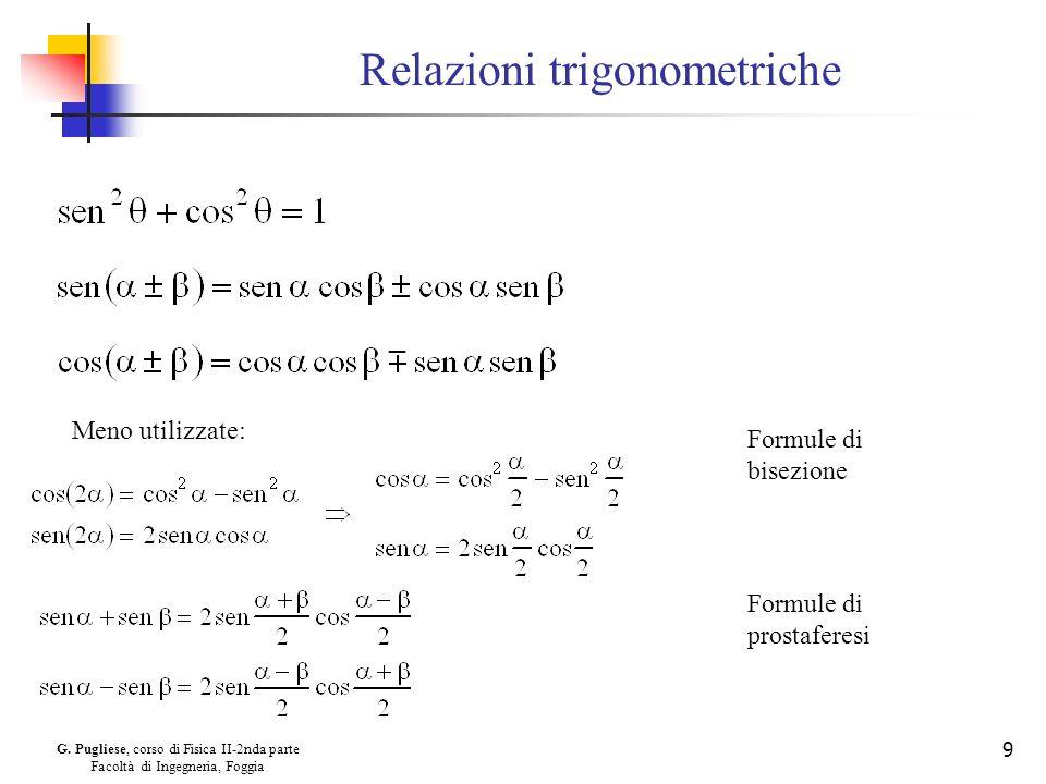 G. Pugliese, corso di Fisica II-2nda parte Facoltà di Ingegneria, Foggia 9 Relazioni trigonometriche Meno utilizzate: Formule di bisezione Formule di