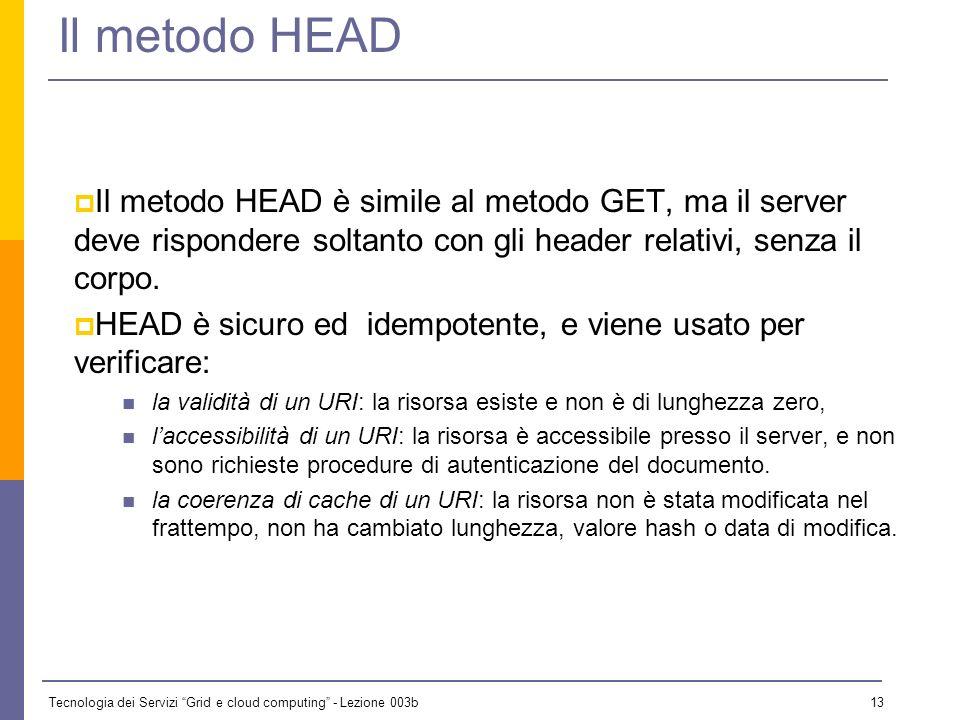 Tecnologia dei Servizi Grid e cloud computing - Lezione 003b 12 Il metodo GET Il più importante (ed unico in v. 0.9) metodo di HTTP è GET, che richied