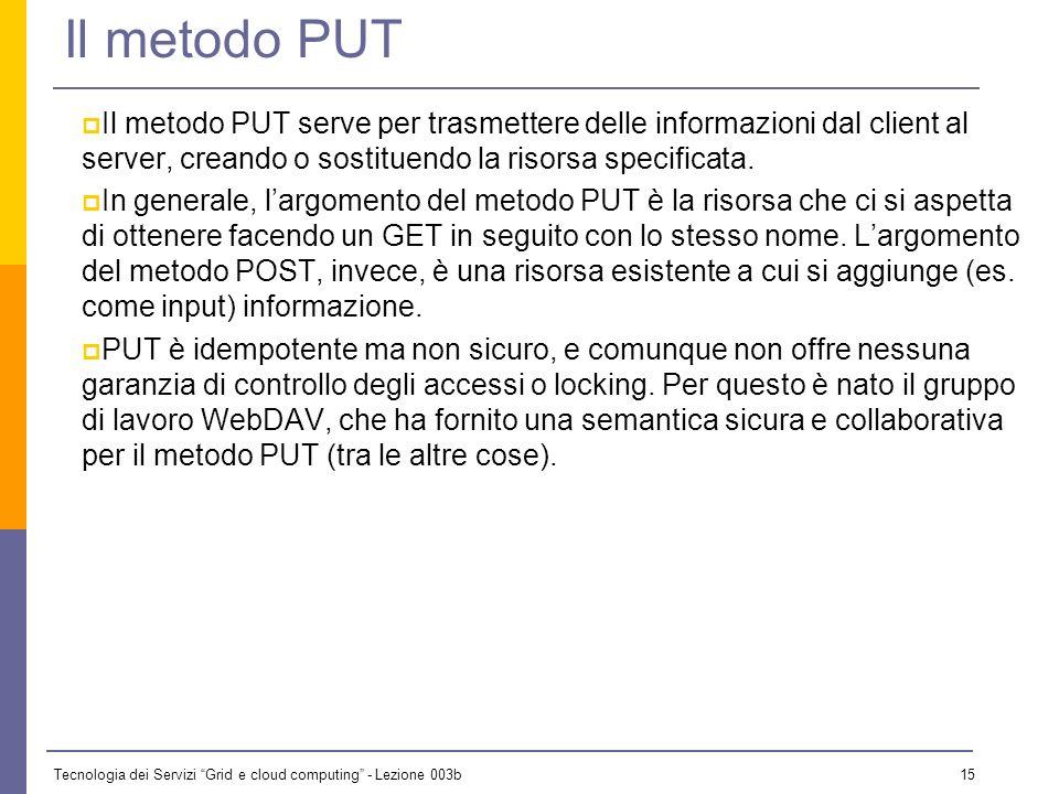 Tecnologia dei Servizi Grid e cloud computing - Lezione 003b 14 Il metodo POST Il metodo POST serve per trasmettere delle informazioni dal client al s