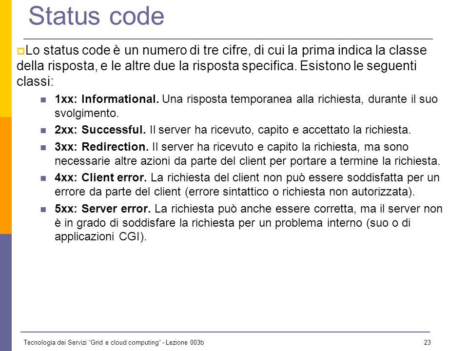 Tecnologia dei Servizi Grid e cloud computing - Lezione 003b 22 La risposta Version status-code reason-phrase CrLf [Header]* CrLf Body GET /index.html