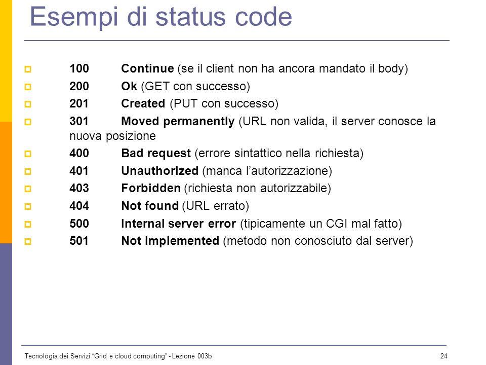 Tecnologia dei Servizi Grid e cloud computing - Lezione 003b 23 Status code Lo status code è un numero di tre cifre, di cui la prima indica la classe