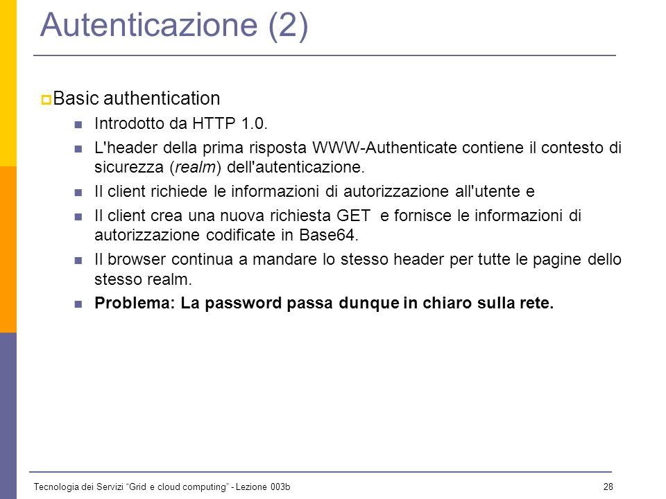 Tecnologia dei Servizi Grid e cloud computing - Lezione 003b 27 Autenticazione (1) Quando si vuole accedere ad una risorsa su cui esistono restrizioni