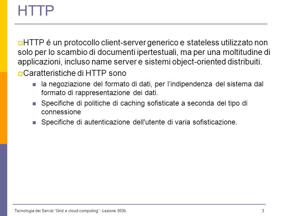 Tecnologia dei Servizi Grid e cloud computing - Lezione 003b 2 Introduzione Esaminiamo in breve: HTTP (HyperText Transfer Protocol) An application-lev