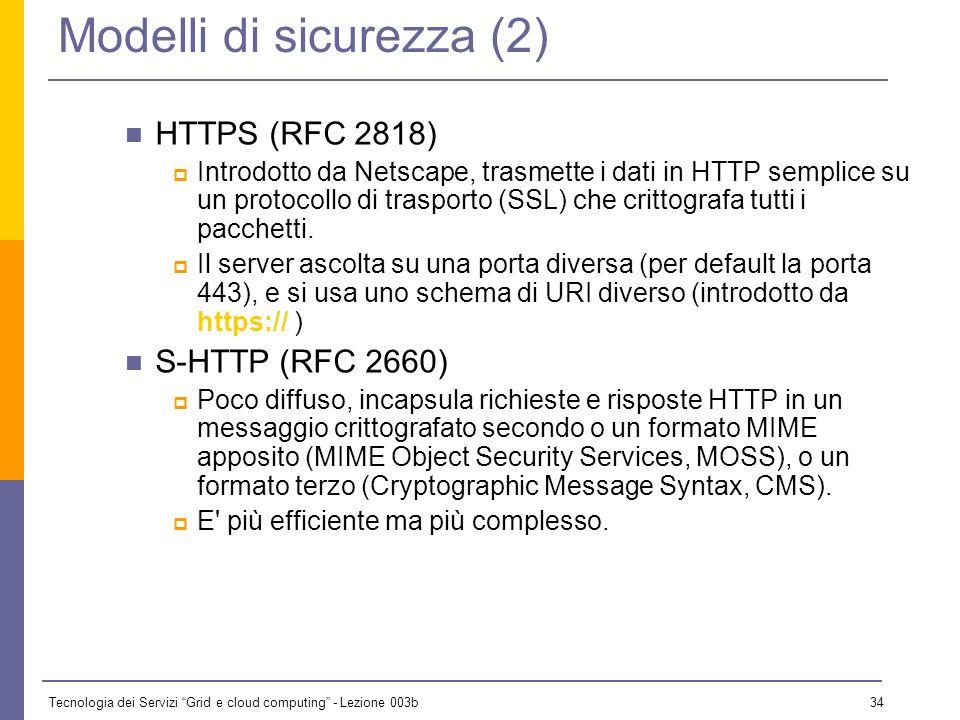 Tecnologia dei Servizi Grid e cloud computing - Lezione 003b 33 Modelli di sicurezza (1) Ci sono due modi per fornire un trasporto sicuro (cioè non in