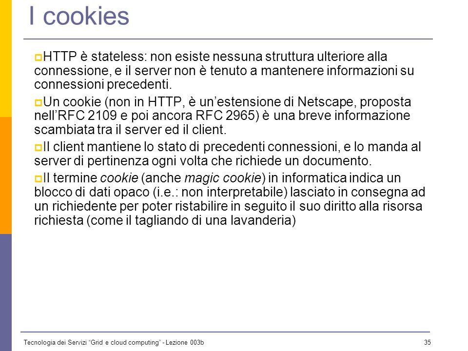 Tecnologia dei Servizi Grid e cloud computing - Lezione 003b 34 Modelli di sicurezza (2) HTTPS (RFC 2818) Introdotto da Netscape, trasmette i dati in