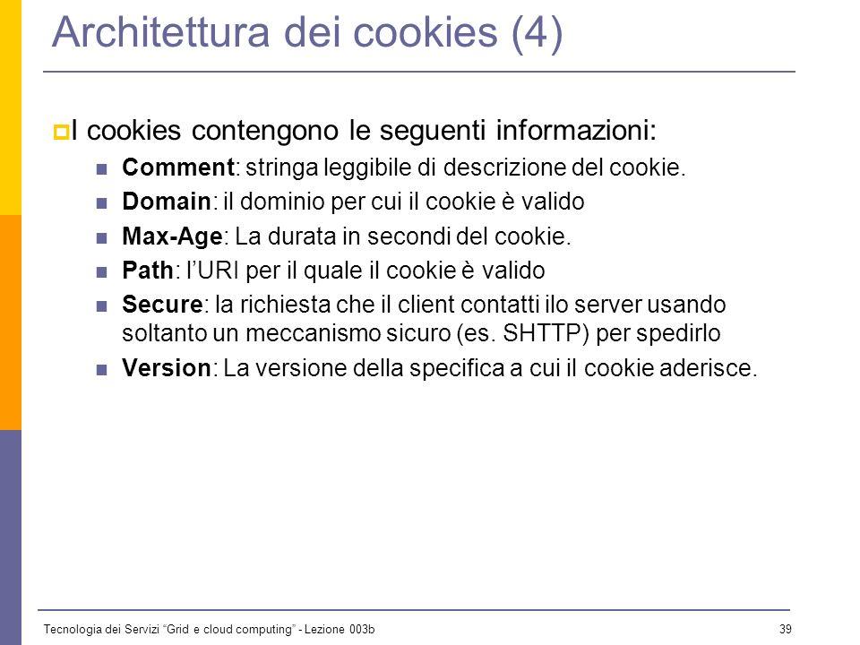 Tecnologia dei Servizi Grid e cloud computing - Lezione 003b 38 Architettura dei cookies (3) I cookies dunque usano due header, uno per la risposta, e