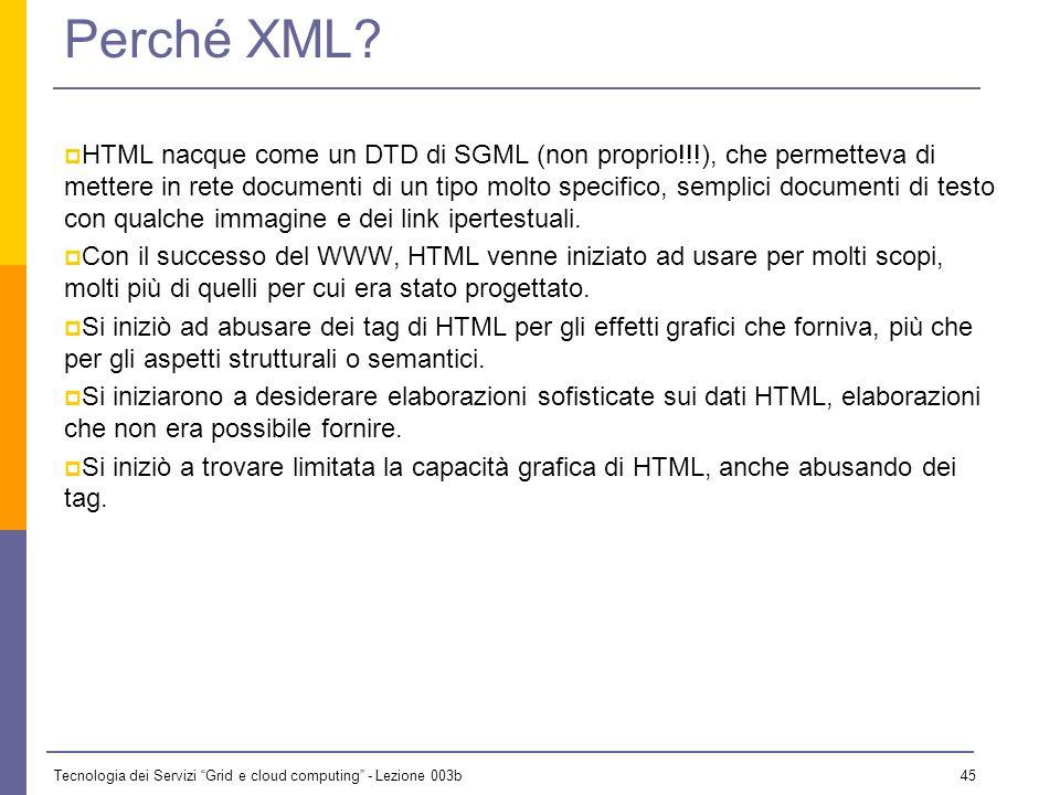 Tecnologia dei Servizi Grid e cloud computing - Lezione 003b 44 XML XML (Extensible Markup Language [sic!]) è un meta- linguaggio di markup, progettat