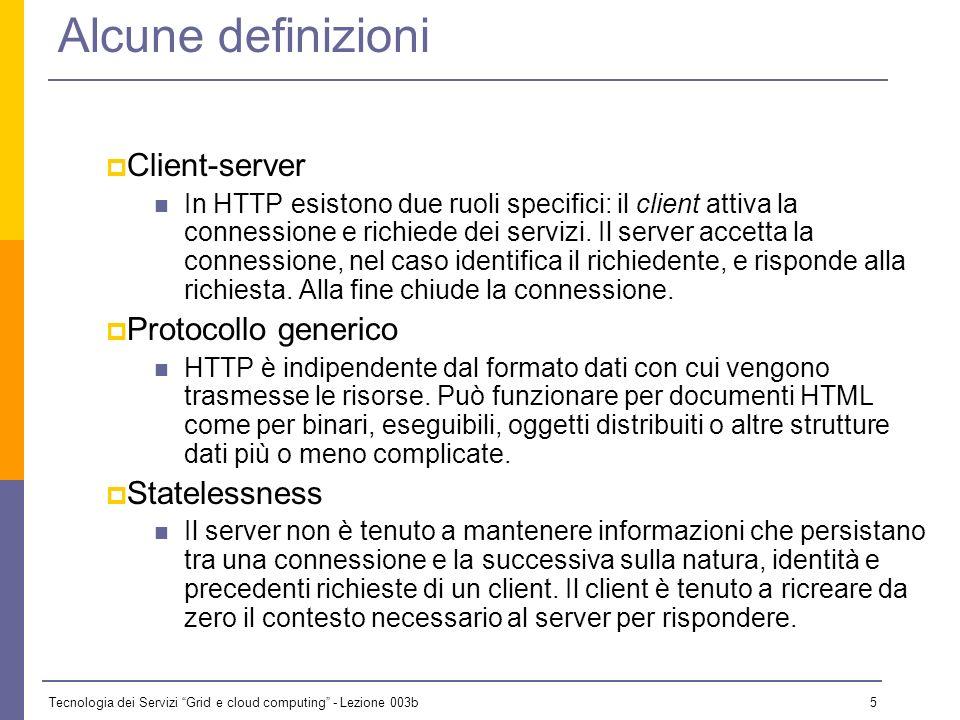 Tecnologia dei Servizi Grid e cloud computing - Lezione 003b 4 Storia di HTTP HTTP è esistito in tre versioni: 0.9: un semplicissimo protocollo client