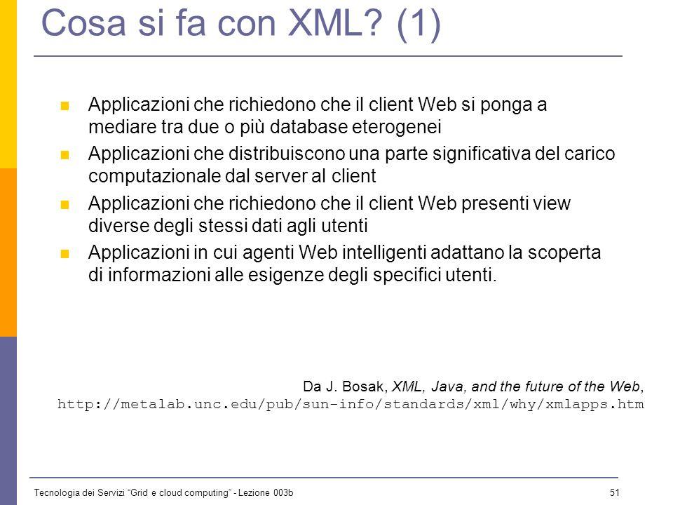Tecnologia dei Servizi Grid e cloud computing - Lezione 003b 50 Quali applicazioni XML? Data Interchange Ogni volta che più programmi si debbono scamb
