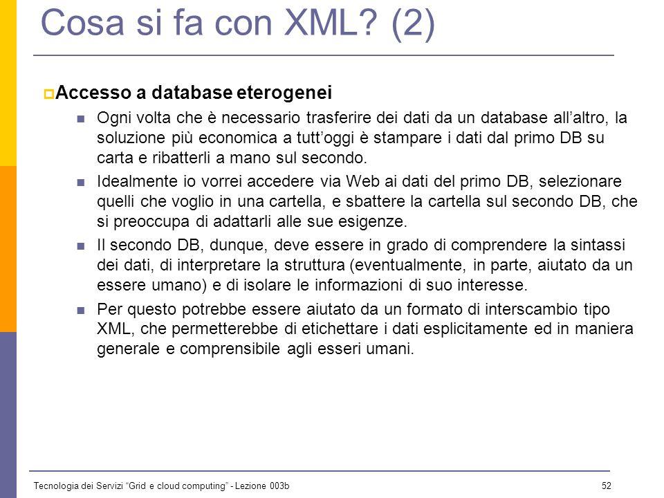 Tecnologia dei Servizi Grid e cloud computing - Lezione 003b 51 Cosa si fa con XML? (1) n Applicazioni che richiedono che il client Web si ponga a med