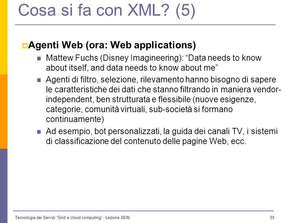 Tecnologia dei Servizi Grid e cloud computing - Lezione 003b 54 Cosa si fa con XML? (4) Viste selettive Lesempio tipico è lindice sommario dinamico di