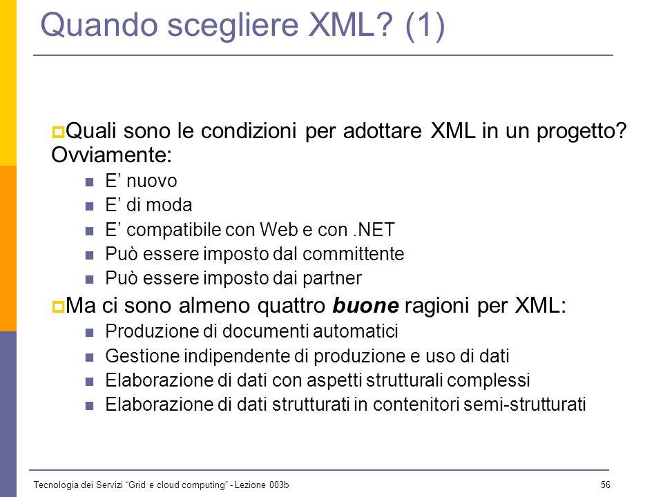 Tecnologia dei Servizi Grid e cloud computing - Lezione 003b 55 Cosa si fa con XML? (5) Agenti Web (ora: Web applications) Mattew Fuchs (Disney Imagin