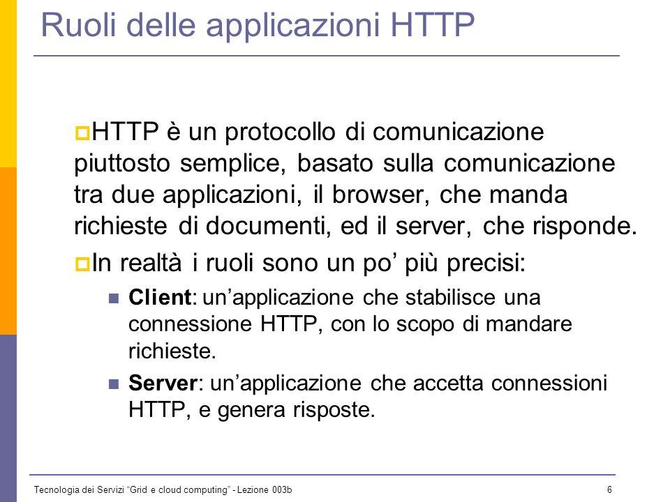 Tecnologia dei Servizi Grid e cloud computing - Lezione 003b 5 Alcune definizioni Client-server In HTTP esistono due ruoli specifici: il client attiva