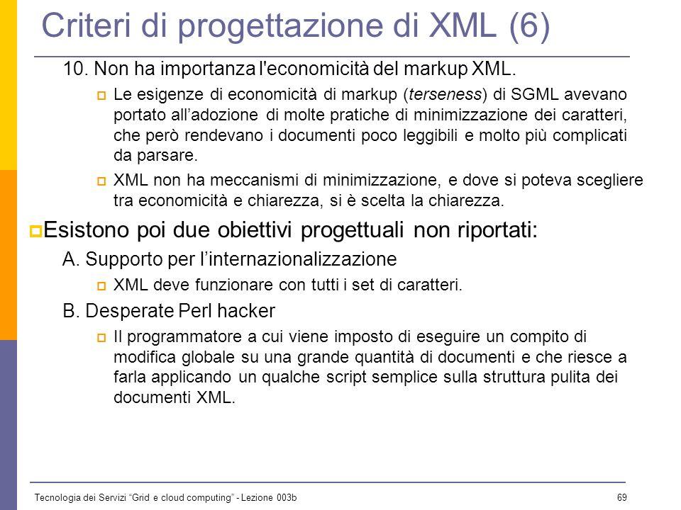 Tecnologia dei Servizi Grid e cloud computing - Lezione 003b 68 Criteri di progettazione di XML (5) 8. La progettazione XML deve essere formale e conc