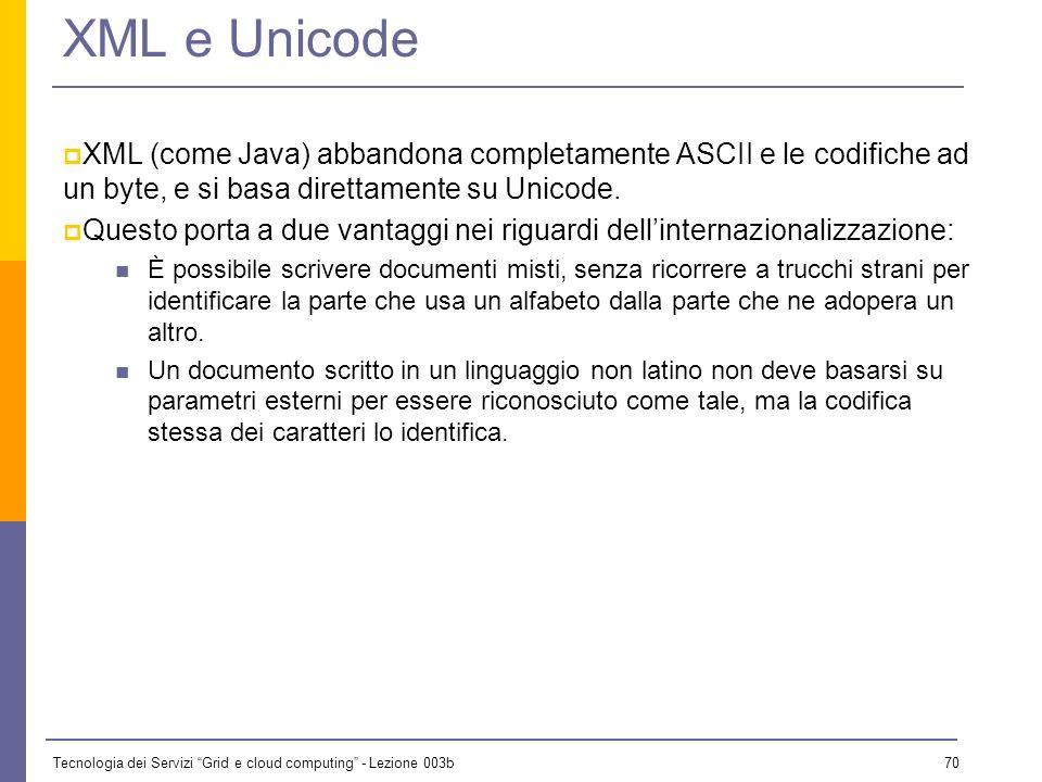 Tecnologia dei Servizi Grid e cloud computing - Lezione 003b 69 Criteri di progettazione di XML (6) 10. Non ha importanza l'economicità del markup XML