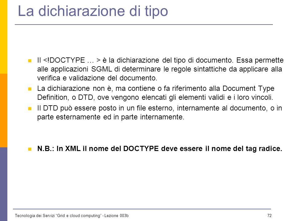 Tecnologia dei Servizi Grid e cloud computing - Lezione 003b 71 Sintassi dei DTD n Una precisazione : Entità generali : Entità parametriche n Altre ca