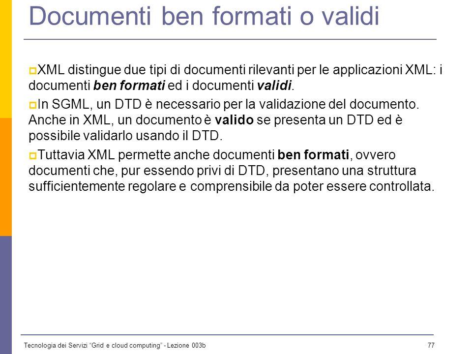 Tecnologia dei Servizi Grid e cloud computing - Lezione 003b 76 Anatomia di un elemento Use a hyphen: . Start-tag ContentEnd-tag Element Element