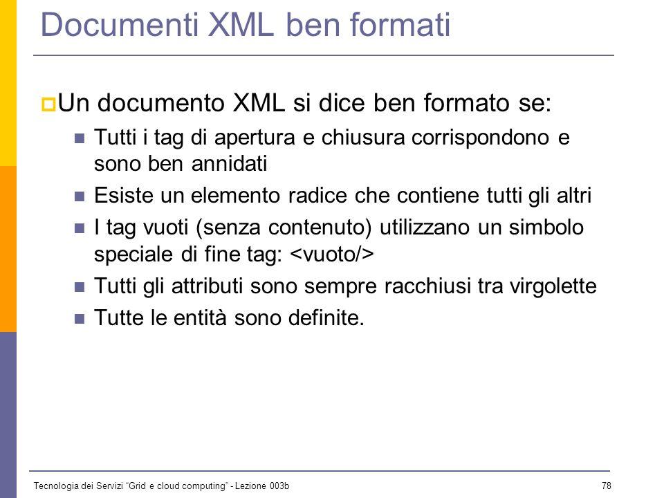 Tecnologia dei Servizi Grid e cloud computing - Lezione 003b 77 Documenti ben formati o validi XML distingue due tipi di documenti rilevanti per le ap
