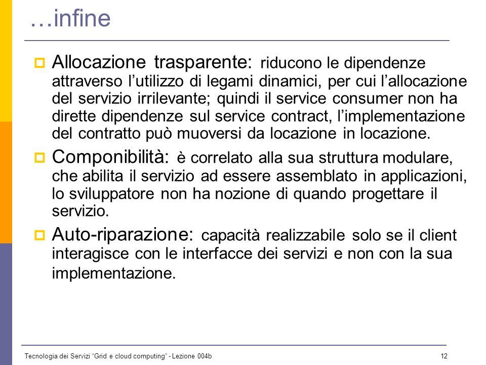 Tecnologia dei Servizi Grid e cloud computing - Lezione 004b 11 …e ancora… Debolmente accoppiati: il consumer di un servizio non ha dettagliate conosc