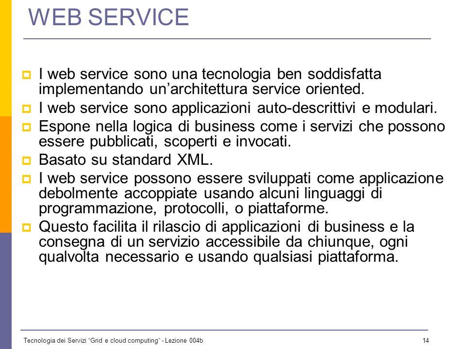 Tecnologia dei Servizi Grid e cloud computing - Lezione 004b 13 GLI OBIETTIVI Lintroduzione dei servizi nelle architetture odierne Quali sono i princi