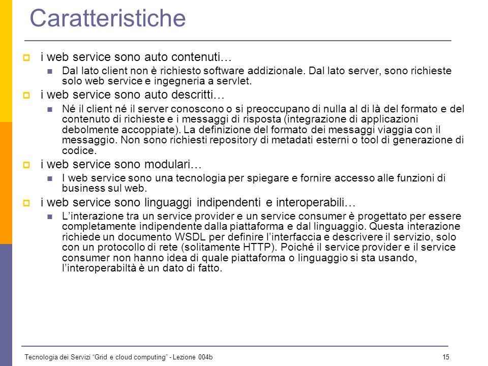 Tecnologia dei Servizi Grid e cloud computing - Lezione 004b 14 WEB SERVICE I web service sono una tecnologia ben soddisfatta implementando unarchitet