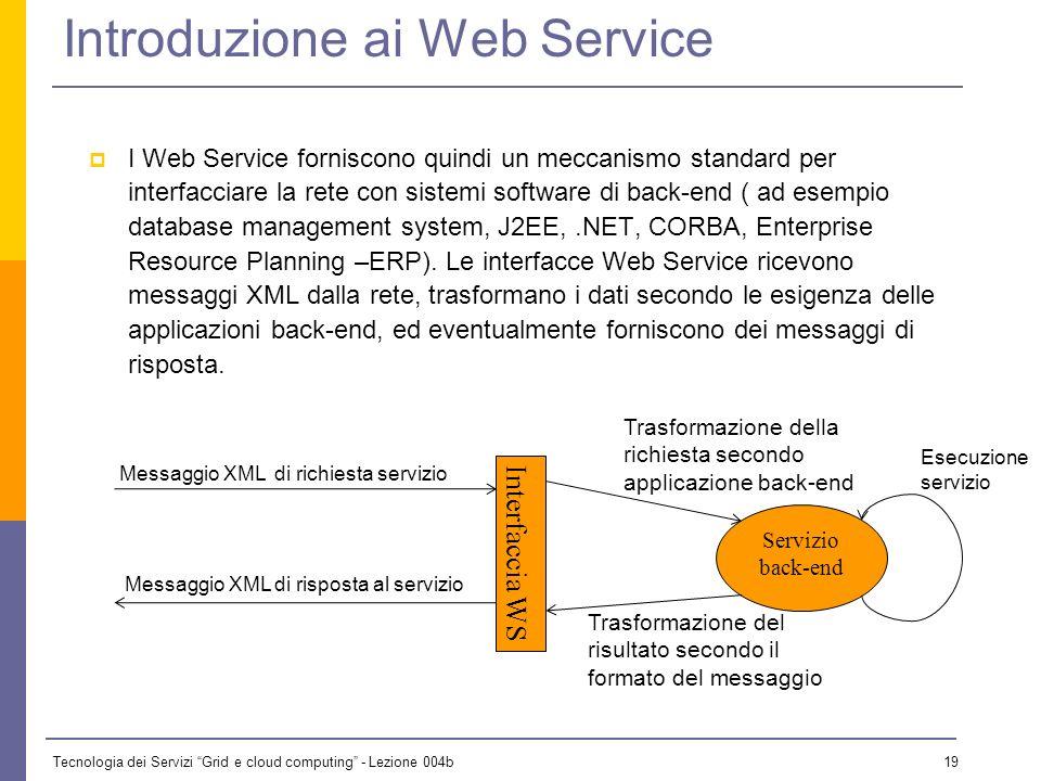 Tecnologia dei Servizi Grid e cloud computing - Lezione 004b 18 Introduzione ai Web Service I Web Service consentono una comunicazione fra programmi,