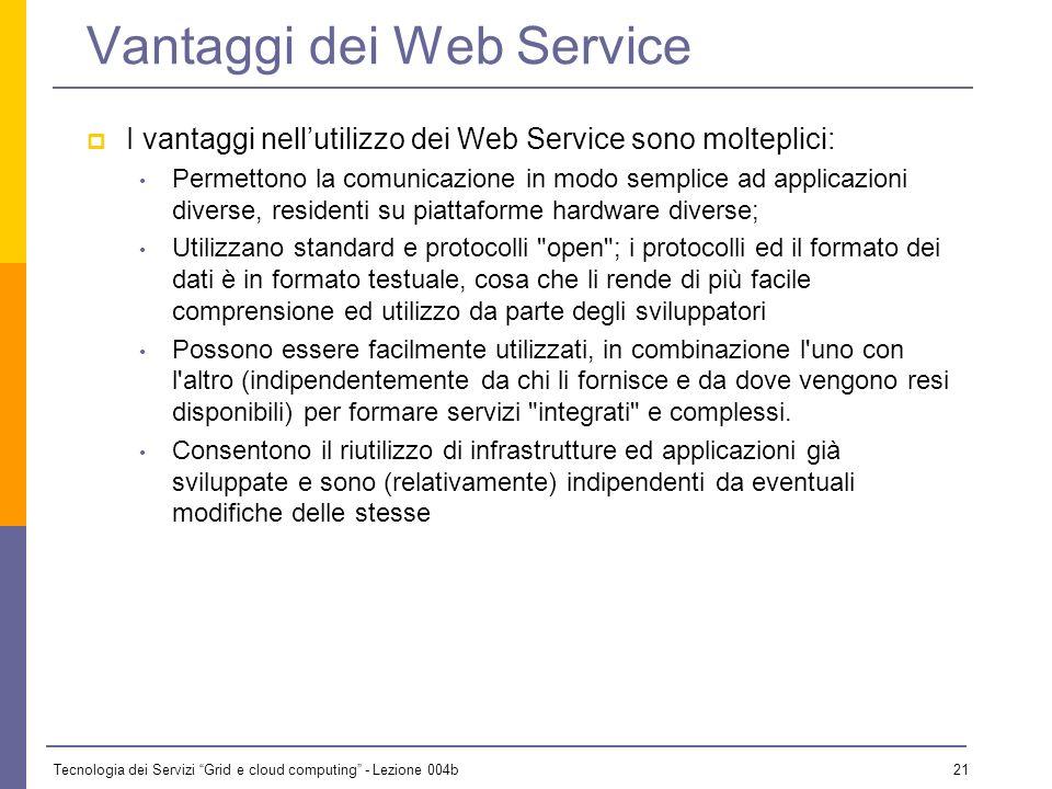 Tecnologia dei Servizi Grid e cloud computing - Lezione 004b 20 Interazione con Web Service Lo standard e la tecnologia Web Service in generale fornis