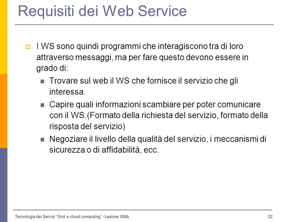 Tecnologia dei Servizi Grid e cloud computing - Lezione 004b 21 I vantaggi nellutilizzo dei Web Service sono molteplici: Permettono la comunicazione i