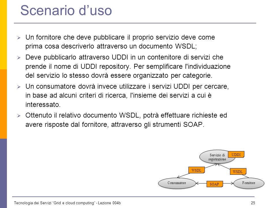Tecnologia dei Servizi Grid e cloud computing - Lezione 004b 24 Tecnologie dei Web Service Linfrastruttura dei WS si basa su diverse tecnologie XML pe