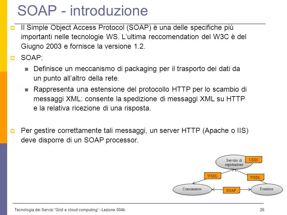 Tecnologia dei Servizi Grid e cloud computing - Lezione 004b 25 Scenario duso Un fornitore che deve pubblicare il proprio servizio deve come prima cos