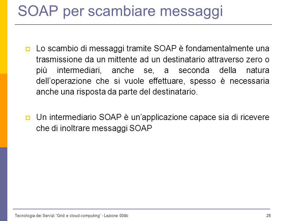 Tecnologia dei Servizi Grid e cloud computing - Lezione 004b 27 SOAP - introduzione La reccomendation del W3C definisce: Come deve essere strutturato